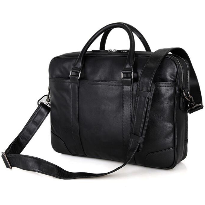 Anaph Office Work Bags Men Black Real Cow Leather Business Briefcases 15 Inch Laptop Bag Top Quality With Double Zippers Open In From Luggage