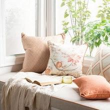 Funda de cojín DUNXDECO, funda de almohada decorativa, funda de sofá de Jacquard geométrico con flores de jardín estilo campestre francés Vintage