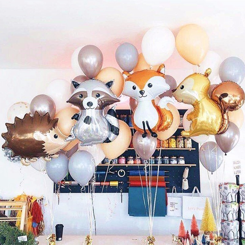 1pc Large Fox Hedgehog And Squirrel Foil Balloons Animal Birthday Party Decorations Adult BabyShower Decor Balls Children's Toy