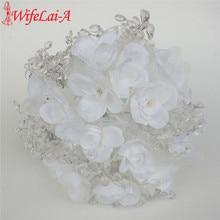 Luxus akril kristály esküvői csokor fehér selyem virág menyasszony Ramos De Novia Esküvői dekoráció virág W5008