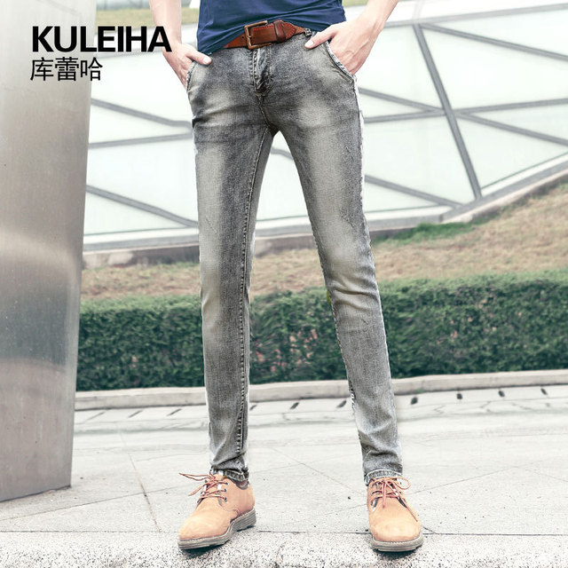NEW 2015 summer style skinny jeans men fashion slim brand bleached vintage  jeans plus size gray cotton casual pencil pants 8172 995a7badf4f4