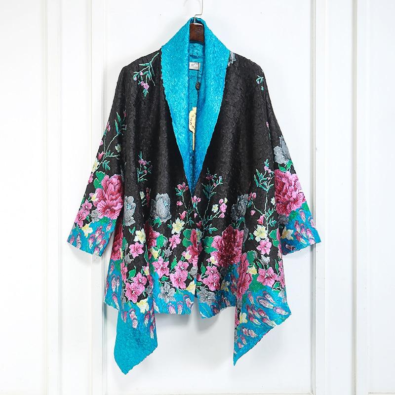 Donne di modo Elegante nero Giacca floreale stampato disponibile double side indossare classico design di alta qualità outwear Il Trasporto libero-in Giacche basic da Abbigliamento da donna su  Gruppo 1