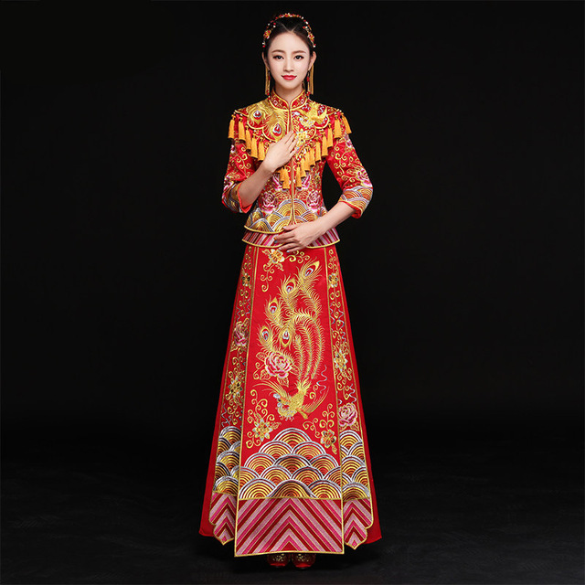 Phoenix Wedding Gowns Bride Traditional Chinese Qipao Dress Long ...