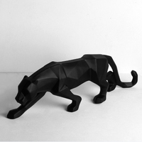 Leopard Resin Sculpture Model Office Bar Black Panther Crafts Ornaments Animal Origami Abstract Geometric Statues Decoration