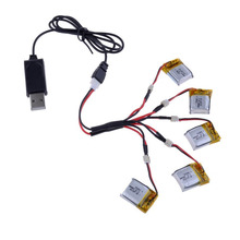 3.7V 100mAh Li-po Battery with 5 in1 Charging Cable and USB Charger Cable for Cheerson CX-10 Hubsan H111 RC Quadcopter