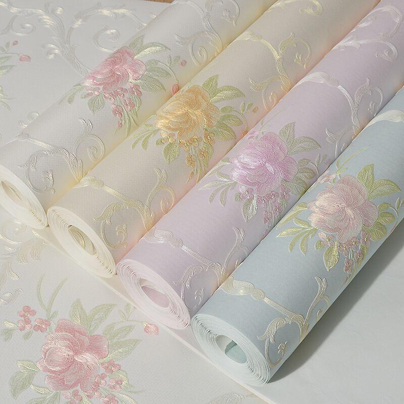 Romantic floral wallpaper for walls non woven flower wall for Floral wallpaper for walls