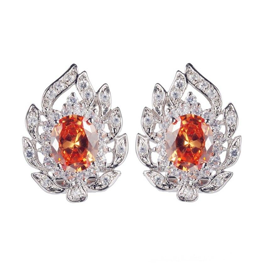 Fleure Esme charm christmas drop earrings Jewelry & Accessories For Women Men bohemian Orange Cubic Zirconia Rhodium Plated R680
