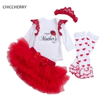 Happy Mother's Day Newborn Baby Girl Clothes Bodysuit Lace Tutu Skirt Headband Leg Warmers Toddler Girl Clothing Roupa Infantil