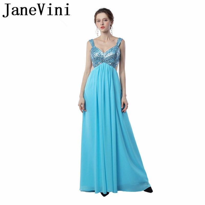 10225f5f40ccc6c JaneVini Sexy шифон блестками Кристалл Длинные мать невесты платья с  v-образным вырезом спинки пола