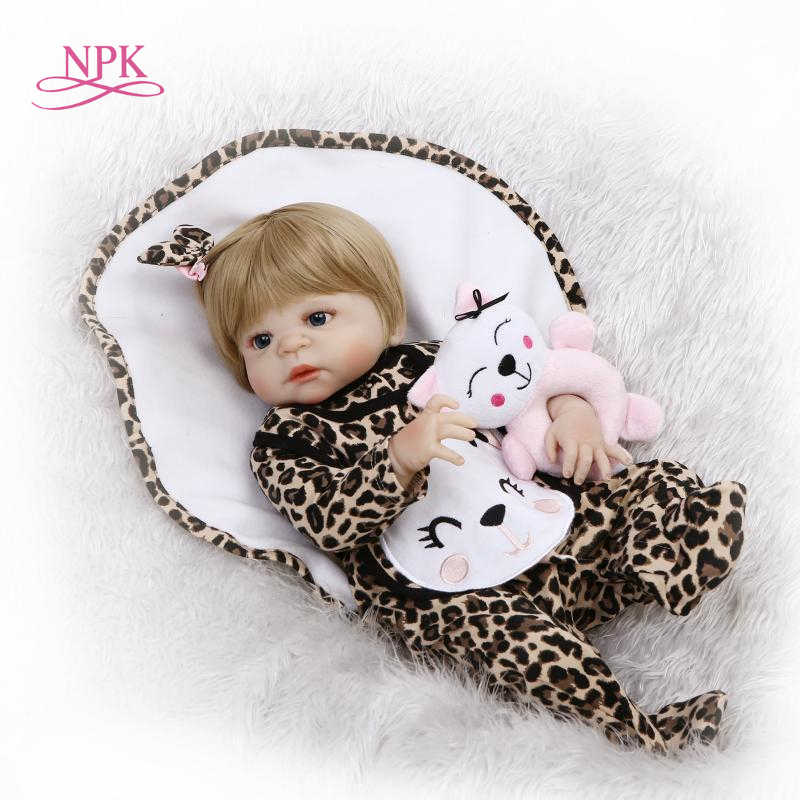 NPK 22inches 57cm full silicone vinyl reborn dolls newborn babies doll alive bebe girl child gifts toy blonde hair