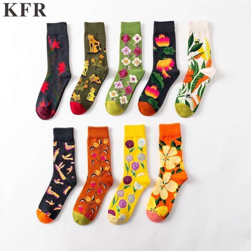 Happy Socks Funny Mens Big flower trend Cotton Skateboard Hip Hop Street Crew Harajuku Art Fashion Short