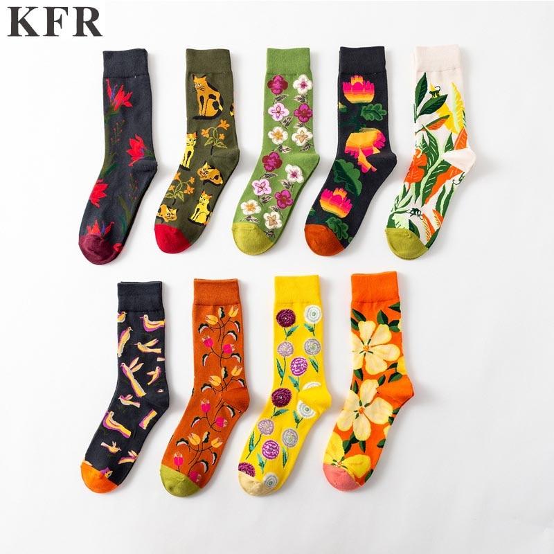 Happy   Socks   Funny Mens   Socks   Big flower trend Mens Cotton Skateboard Hip Hop Street Crew Harajuku Art Fashion Short   Socks