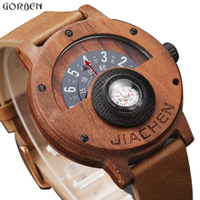 Fashion Compass Turntable Number Design Men Wooden Watch Men