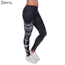 Zohra High Elasticity Egyptian cat symbols Printed Fashion Slim fit Legging Workout Trousers Casual Pants Gym