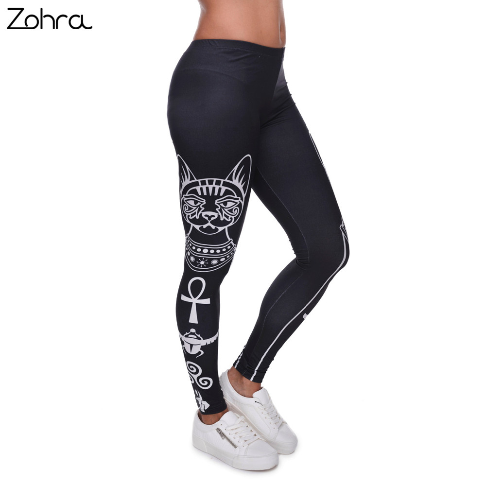 Zohra Hohe Elastizität Ägyptischen katze symbole Gedruckt Mode Slim fit Legging Workout Hose Casual Hosen Leggings für Frauen