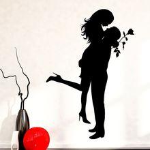 """Домашний декор романтическая девушка человек настенные наклейки """"Love"""" Роза Стиль стены Стикеры Съемный Любовь Пара обои Гостиная росписи AY1035"""