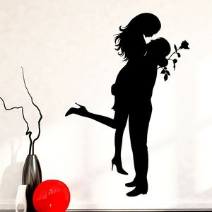 Home Decor Romantic Girl Man Wall Decals Love Rose Style Wall Sticker Removable Love Couple Wallpaper Living Room Mural AY1035(China)