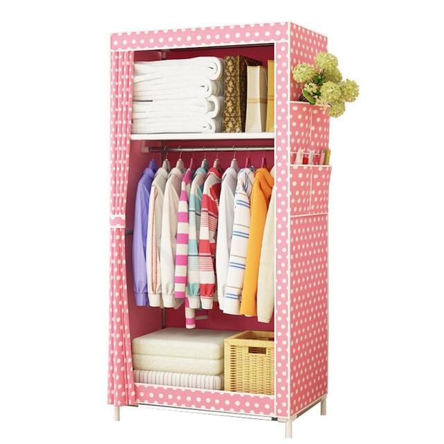 Dormitory Wardrobe Non Woven Steel Frame Reinforcement Standing Storage  Organizer Detachable Wardrobe Closet Furniture