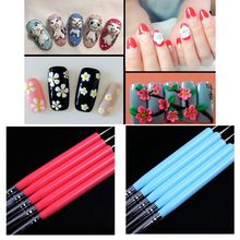 5Pcs Dual-ended Silicone Carving & Dotting Pens Sculpture Painting Nail Art Brush Tool цена