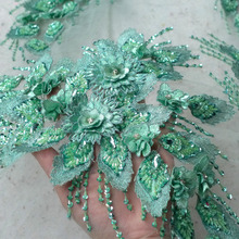 New Green/off white super heavy beaded stones handmake 3D flowers dress lace fabric 49 width by yard