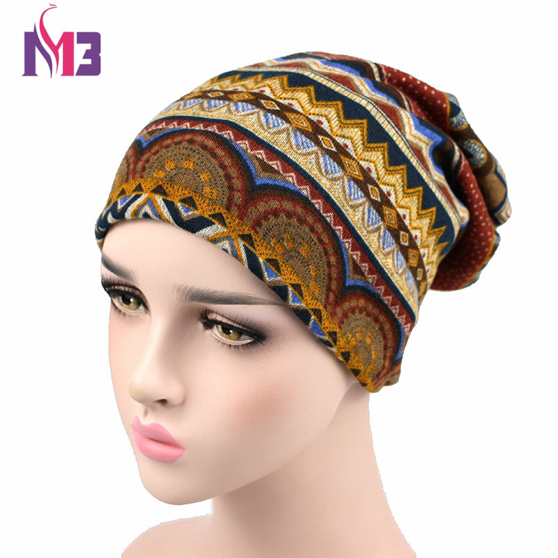 Autumn Winter Women's Bohemian   Beanie   Hat Unisex Knitted Polyester   Skullies   Two Used Neck Warmer Casual Cap Plaid Ski Gorros Cap