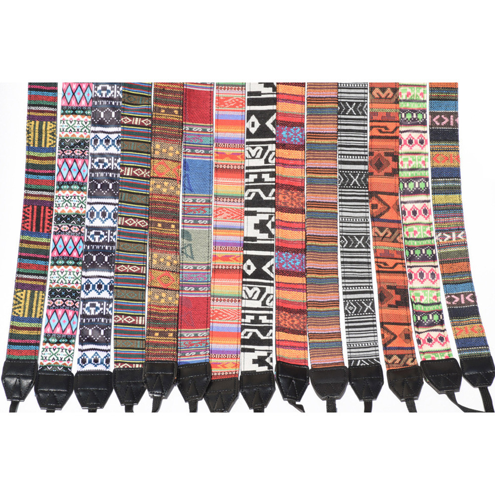 Photo DLSR Retro Style Double Cotton Yard Colorful Pattern Camera Shoulder Neck Sling Hand Strap