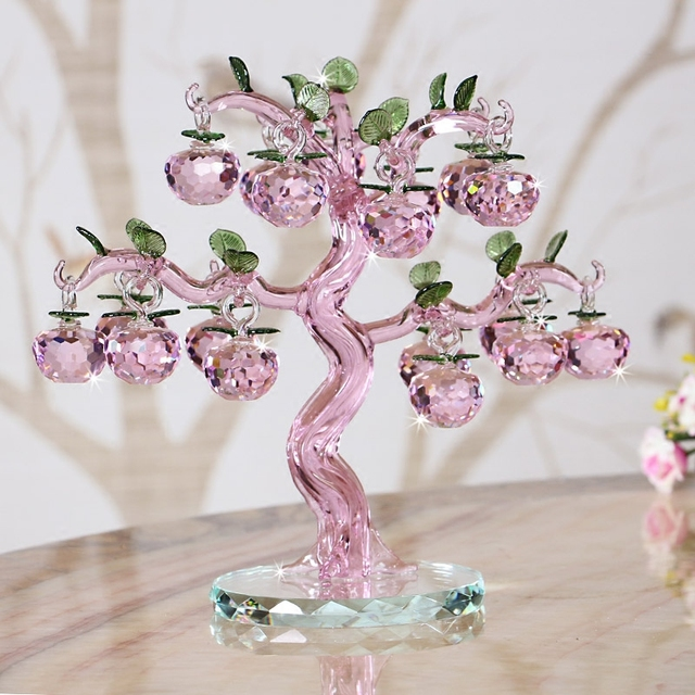 Pink Purple Crystal Apple Ornaments Creative Home Living Room Tv