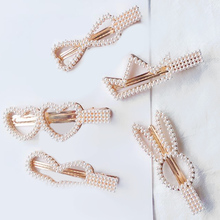 New Geometric Hair Clips For Womens Plastic Accessoires Headwear Sets Girls Bow Tie Pearl Hairpins Alloy  Hairgrips Barrettes
