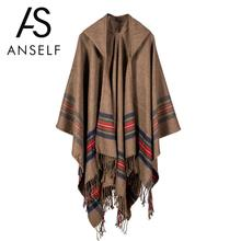 Anself 2017 Winter Striped Print Knitted Cardigan Women Poncho Cape Hooded Oversized Sweater Casual Long Cardigan Coat Outerwear(China)