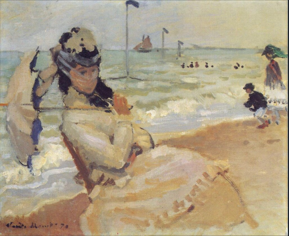 High quality Oil painting Canvas Reproductions Camille on the Beach at Trouville (1870)  By Claude Monet hand paintedHigh quality Oil painting Canvas Reproductions Camille on the Beach at Trouville (1870)  By Claude Monet hand painted
