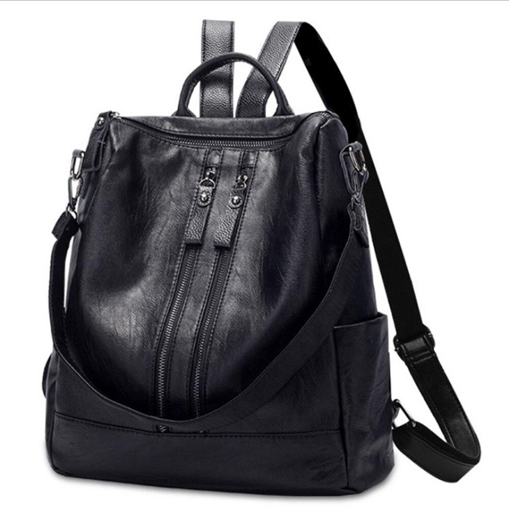 Emarald Brand PU Leather Backpacks For Teenage Girls Zipper Backpack Female Bagpack  School Bag Black Travel Laptop Bag