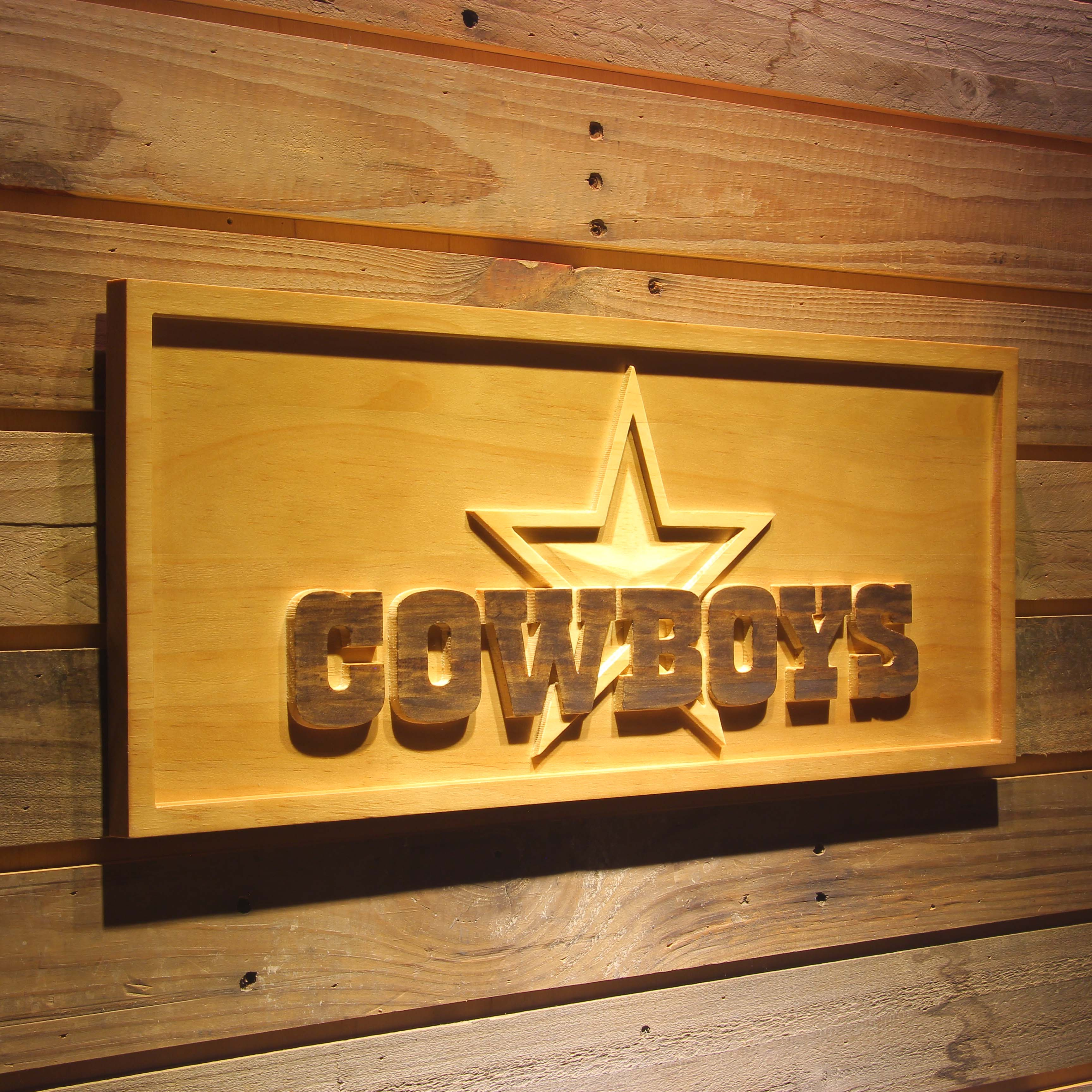 Dallas Cowboys Star 3D Wooden Bar Sign-in Plaques & Signs from Home ...