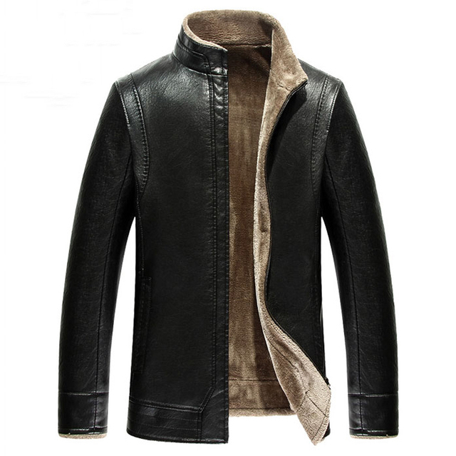 High Quality Fur Lined Leather Jacket Male Winter Style Mens Fur Leather Jackets Designer Men Leather Fur Jacket Coats New C056