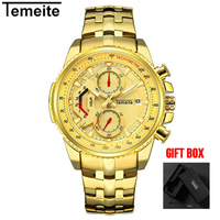 Temeite Top Brand Luxury Golden Men's Watches Quartz Wrist Watch For Men Sport Casual Male Wristwatch Relogio Dourado Masculino