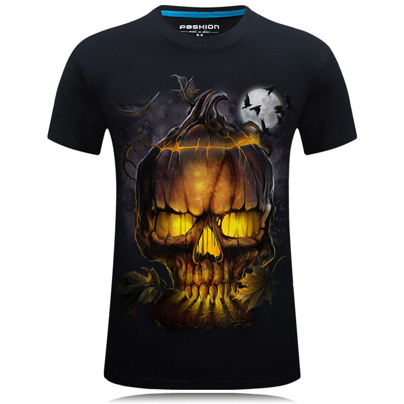 New Skull T Shirt Men Women 3D Print Fire Skull T-shirt Short Sleeve Hip-Hop Tees Summer Tops Cool t shirt Halloween Shirt 1