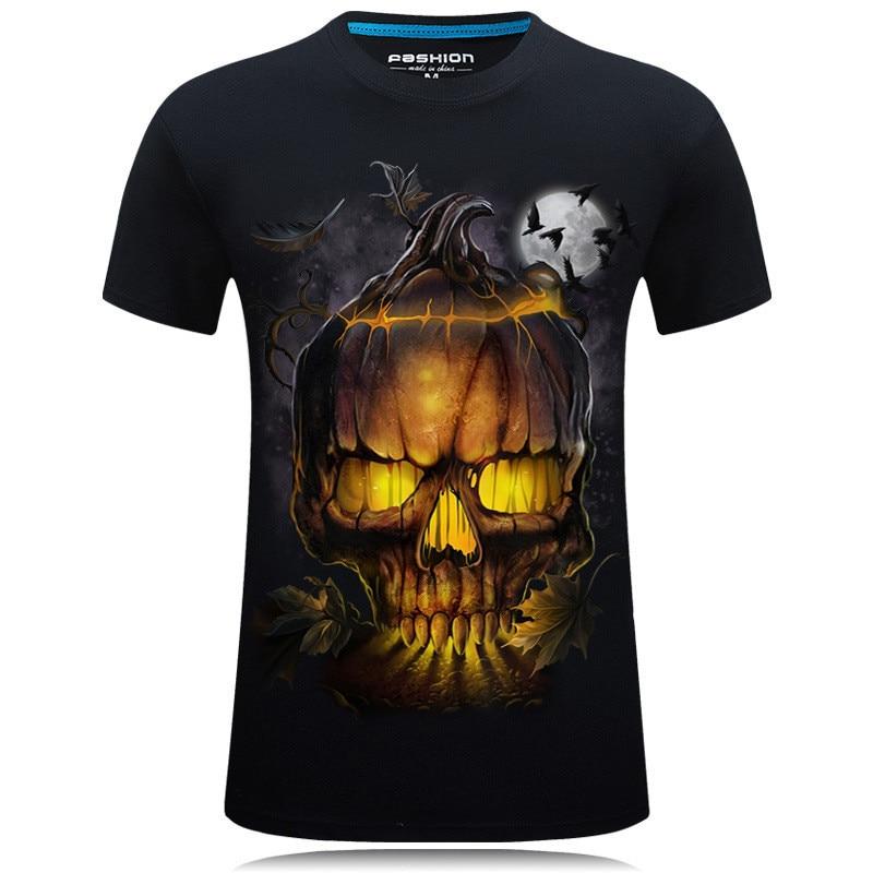 New Skull T Shirt Men Women 3D Print Fire Skull T-shirt Short Sleeve Hip-Hop Tees Summer Tops Cool t shirt Halloween Shirt 1