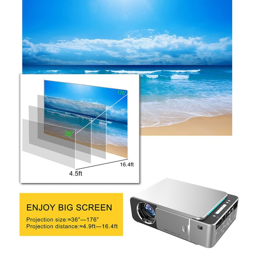 T6 HD LED Projector 1280x720p Optional Android 7 1 2 Portable HDMI USB 1080p Home Theater Projector Bluetooth WIFI EU Plug in Conference System from Computer Office