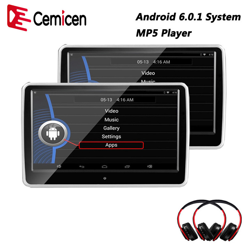 Cemicen 10 1 inch Car Headrest monitor Android 6 0 1 System with WIFI IPS Touch