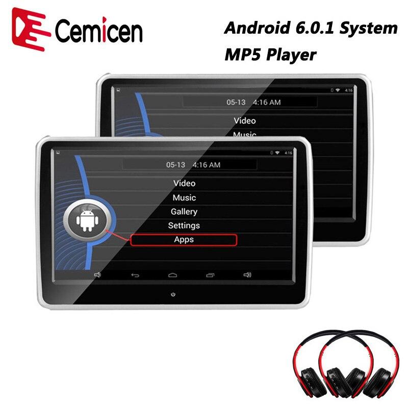 Cemicen 10,1 Zoll Auto Kopfstütze Monitor Android 6.0.1 System Mit Wifi Ips Touchscreen Mp5 Player Mit Usb/sd/ Bluetooth/lautsprecher