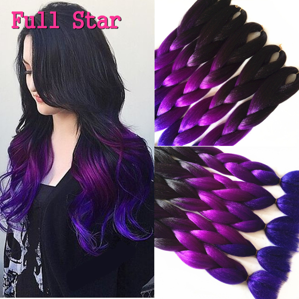 10pcs Crochet Braid Hair Black Purple Blue Ombre Kanekalon Braiding ...