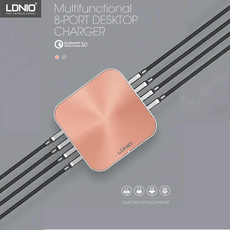 LDNIO A8101 Quick Charger 3.0 8 Ports USB Charger For iPhone iPad Samsung Multiple Charging 5V 10A