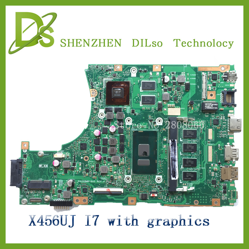 For ASUS X456UJ Laptop motherboard X456UJ mainboard REV2.2 with graphics card i7 cpu onboard freeshipping 100% tested original laptop motherboard mainboard for lenovo g565 z565 la 5754p with 4 video chips non integrated graphics card rev 2 0