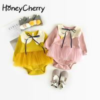 17 Autumn Explosion Female Baby Baby Swan Conjoined Clothing 0 6 12 Months Yarn Ha Clothing