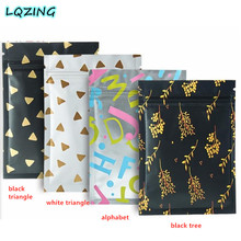 20pcs Small Zip Lock Foil Bags Hot Gold Printed Pattern Reclosable Parts Jewelry Sample Food Storage Bag With Zipper