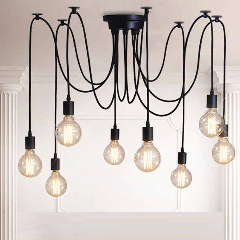 American Style Retro Pendant Vintage Lights Loft Creative Spider Industrial Chandelier Lamps For Living Room Restaurant SINFULL retro country pendant lights loft vintage lamp restaurant bedroom dining room pendant lamps american style for living room