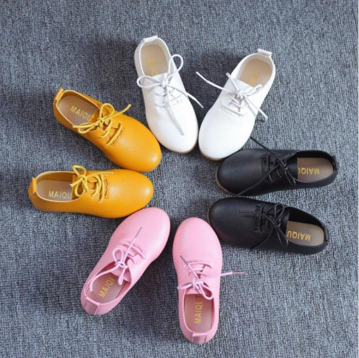Children Girls Pure Color Pu Shoes Casual Bean Lace-up Students Shoes White Pink Black Yellow  21-36 TX10
