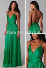 Sexy&Hot Green V-Neck Spaghetti Strap Open Back Prom Dresses 2014 New Fashion Evening Gown Party Dress