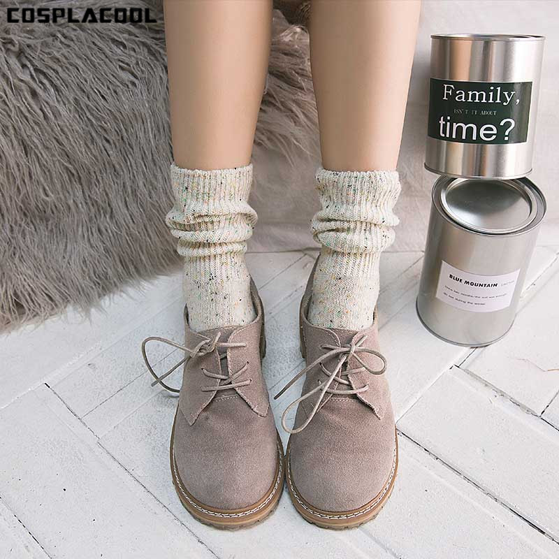 [COSPLACOOL]New Fall/winter Warm Some Yarn Design Creative Socks Women High Quality Heap Heap Solid Color Socks For Women Meias