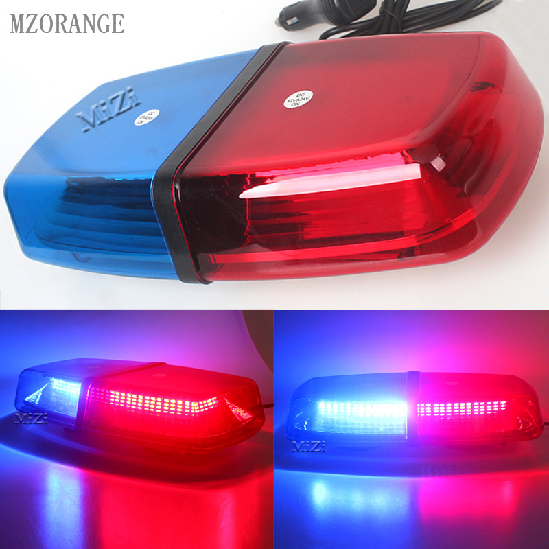 MZORANGE LED Red Blue car flash Warning Light Vehicle Police LED Flashing Beacon Strobe Emergency Lamp with Magnetic Mounted 12V ltd 5111 dc12v car magnetic mounted vehicle police warning light police led flashing beacon strobe emergency lighting lamp