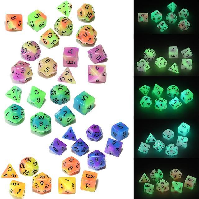 5 Sets Doppel Farbe Glowing Würfel mit Großen Schwarzen Beutel für Dungeons und Drachen RPG MTG Mathematik Lehre Spiele
